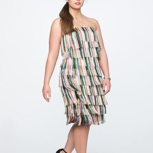 NWT ELOQUII Strapless Fringe Dress